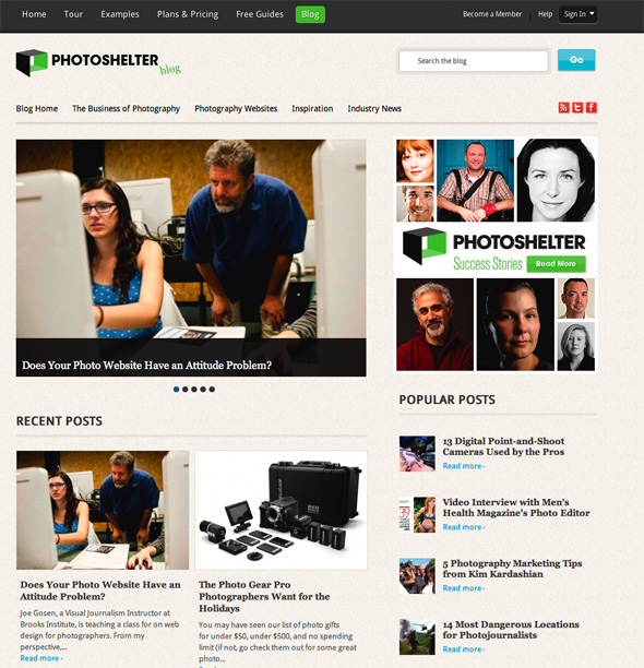 screenshot of the photoshelter blog