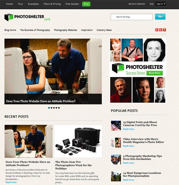 screenshot of the photoshelter blog